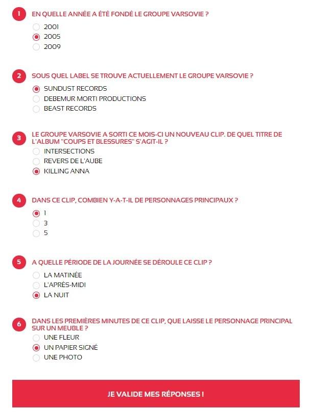 Bonnes réponses - QCM jeu concours VARSOVIE