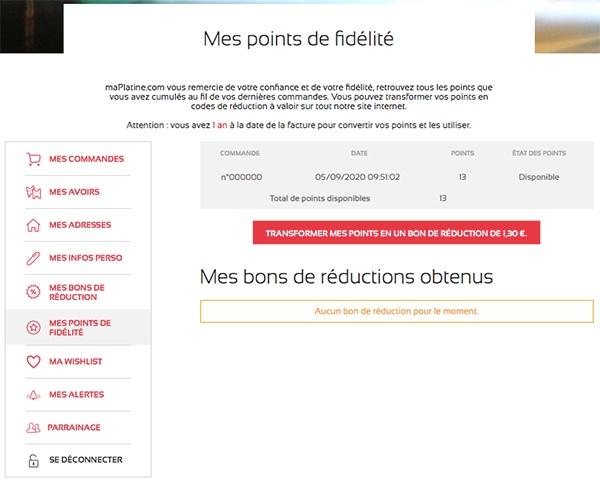 Compte client maPlatine.com - Mes points de fidélité