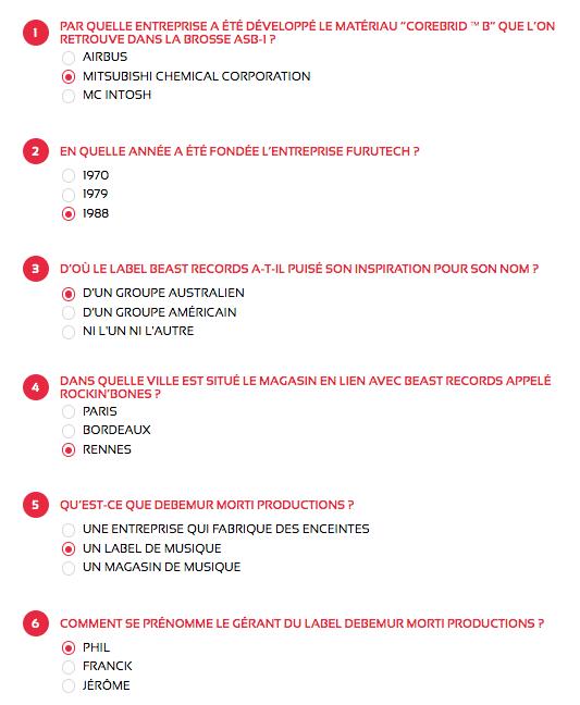 Réponses questionnaire du jeu concours Fête de la Musique 2021 maPlatine.com