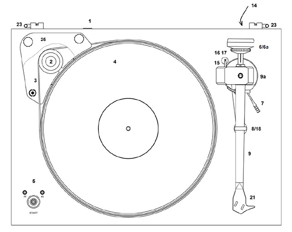 Explanatory diagram of a turntable - Front view