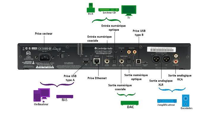 Connecteurs d'un lecteur réseau
