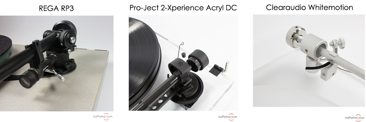 Antiskating sur platine vinyle REGA RP3, platine vinyle Pro-Ject 2-Sperience et platine vinyle Clearaudio Whitemotion