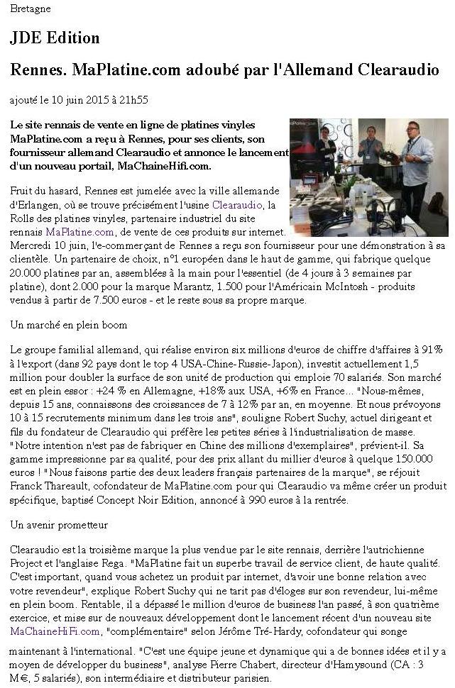 Press article Journal des Entreprises