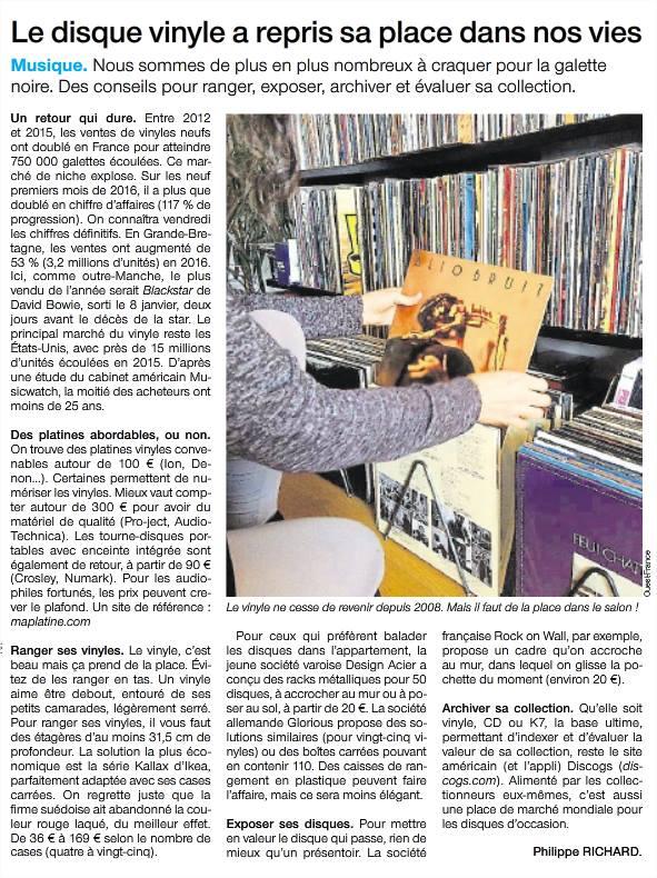 Article du Ouest France sur le retour du vinyle