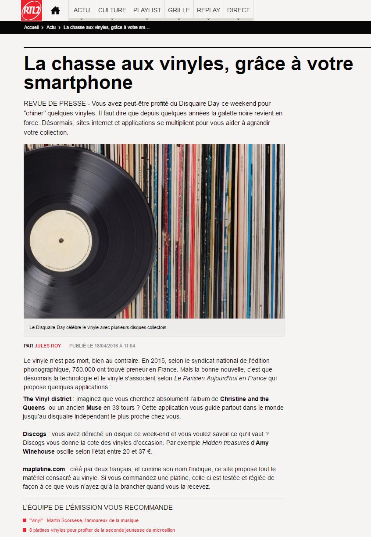Retrouvez l'article posté par RTL2 sur maPlatine.com
