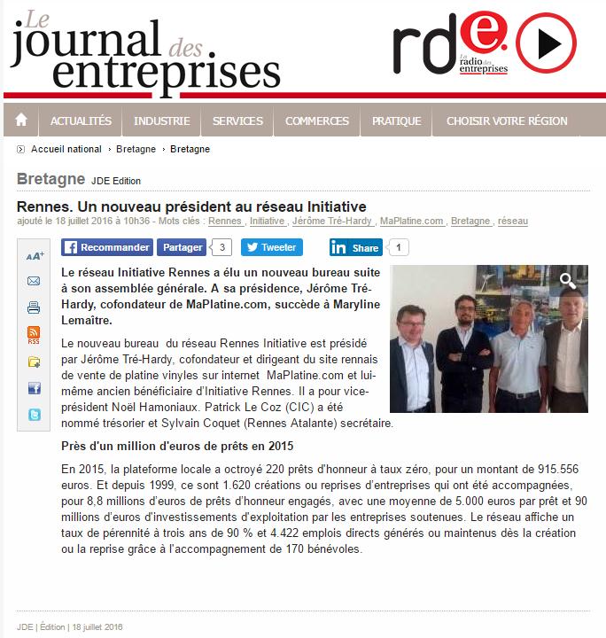 Retrouvez l'article posté par le Journal des Entreprises sur maPlatine.com