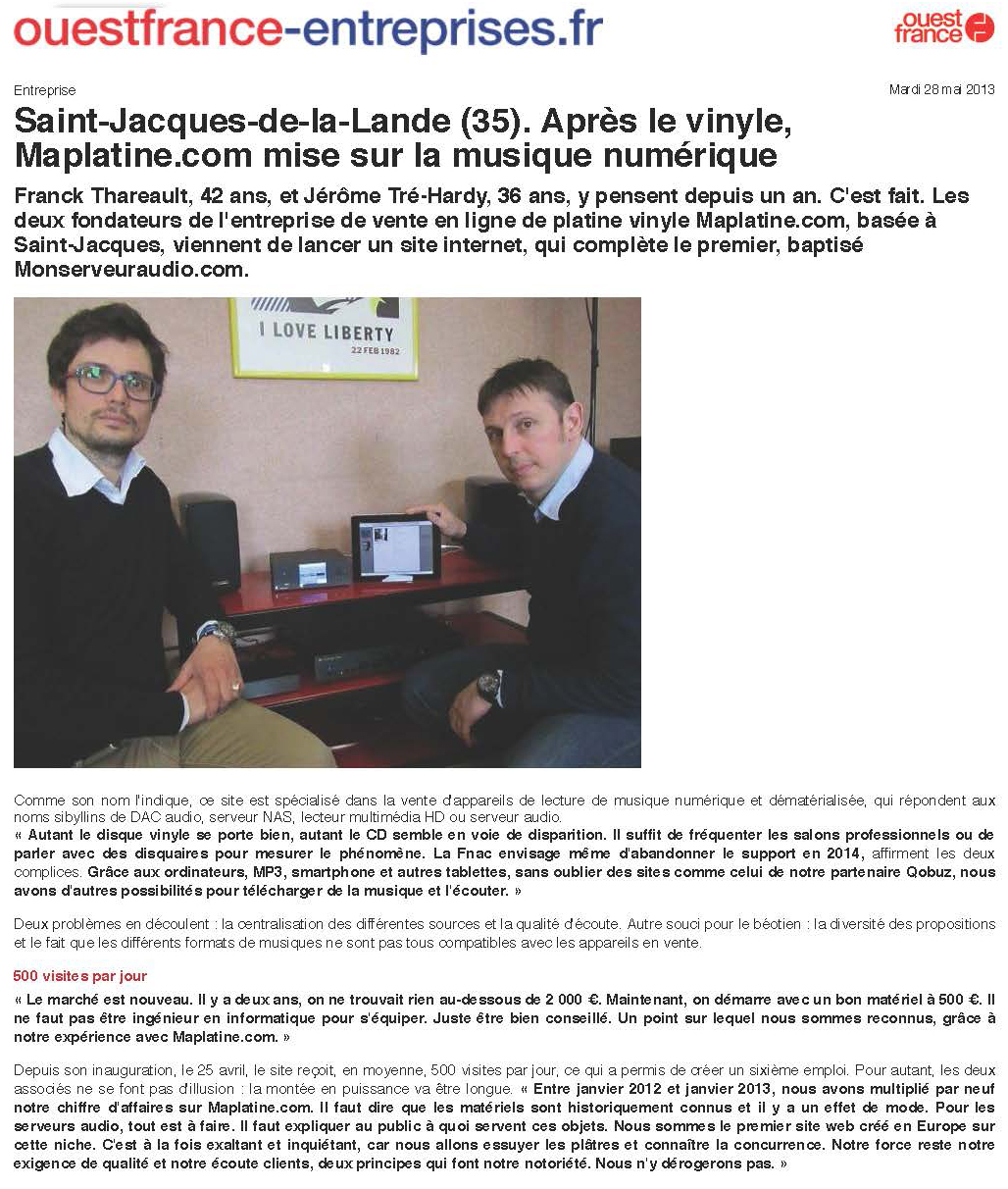 Ouest France Entreprises's article about maPlatine.com