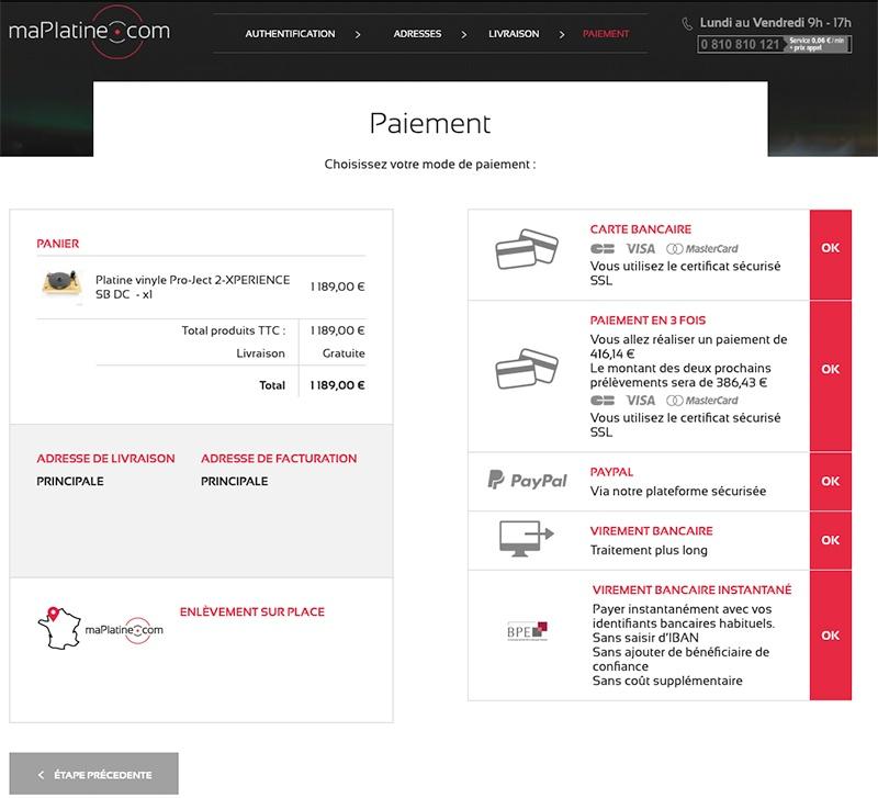Moyens de paiement proposés sur maPlatine.com